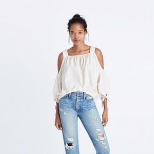Madewell Cold Shoulder Top in White Wash XXS